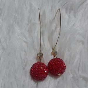 Cherry Red Rhinestone Crusted Bauble & CZ Earrings